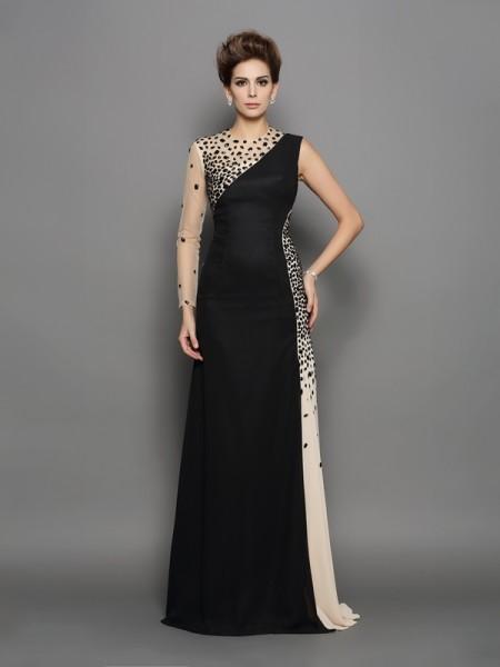 A-Line/Princess High Neck Beading Long Sleeves Long Chiffon Dresses