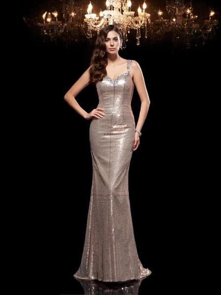 Sheath/Column Straps Beading Sleeveless Long Sequins Dresses