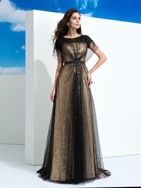 A-Line/Princess Sheer Neck Paillette Short Sleeves Long Net Dresses