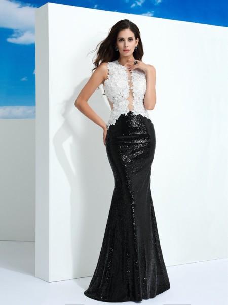 Sheath/Column Scoop Paillette Sleeveless Long Lace Dresses