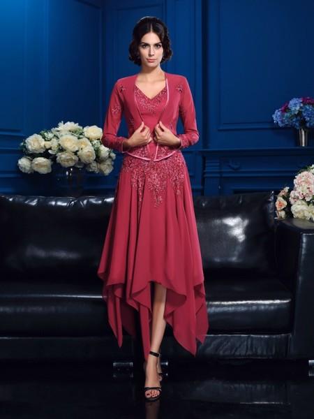 A-Line/Princess V-neck Applique Sleeveless High Low Chiffon Mother of the Bride Dresses