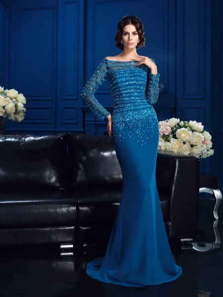 Sheath/Column Off-the-Shoulder Beading Long Sleeves Long Chiffon Mother of the Bride Dresses