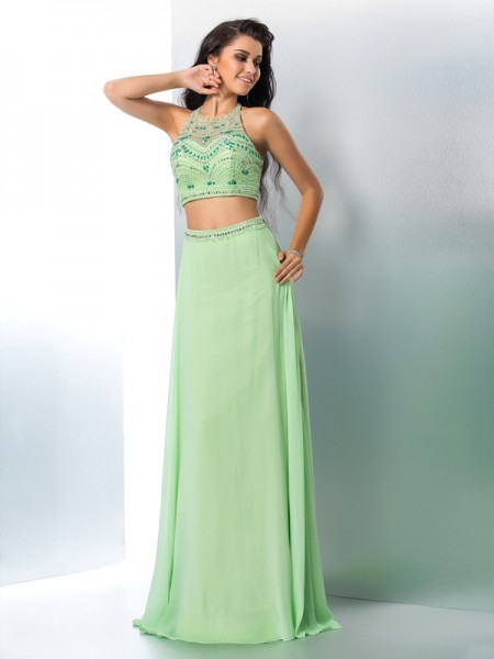 A-Line/Princess Halter Beading Sleeveless Long Chiffon Two Piece Dresses