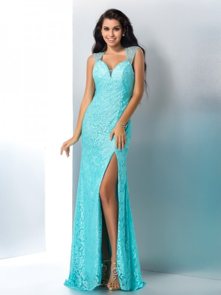 Trumpet/Mermaid Sweetheart Beading Sleeveless Long Lace Dresses