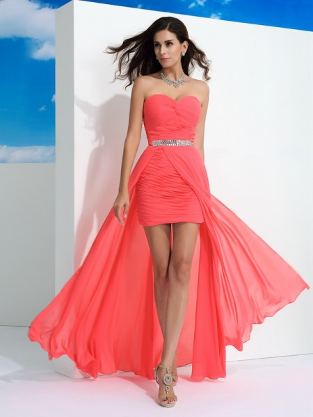 Sheath/Column Sweetheart Pleats Sleeveless Long Chiffon Dresses