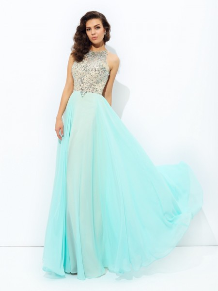A-line/Princess Jewel Beading Sleeveless Long Chiffon Dresses
