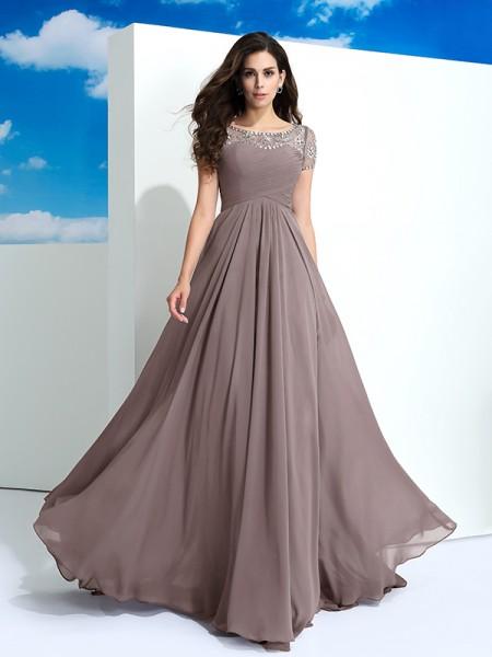 A-Line/Princess Sheer Neck Beading Short Sleeves Long Chiffon Dresses