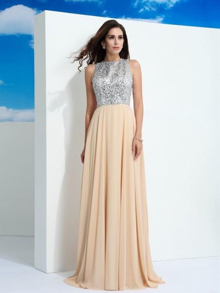 A-Line/Princess Scoop Paillette Sleeveless Long Chiffon Dresses