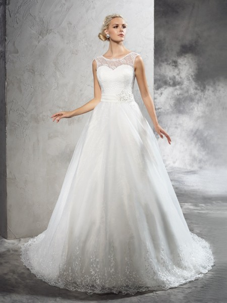 Ball Gown Sheer Neck Sash/Ribbon/Belt Sleeveless Long Net Wedding Dresses
