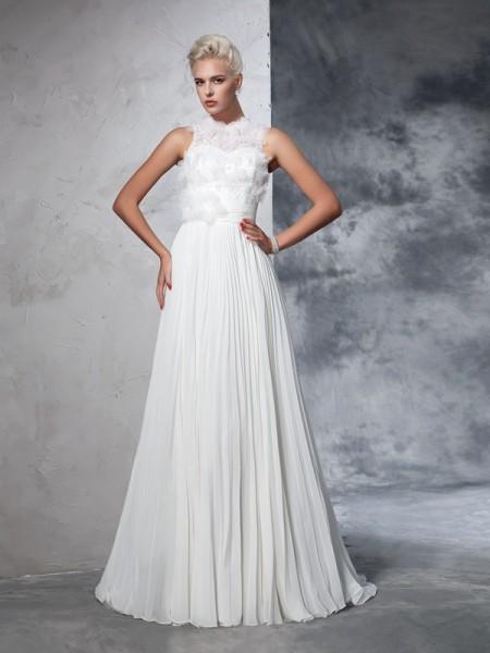 A-Line/Princess High Neck Pleats Sleeveless Long Chiffon Wedding Dresses