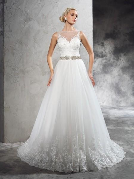 A-Line/Princess Sheer Neck Beading Sleeveless Long Net Wedding Dresses