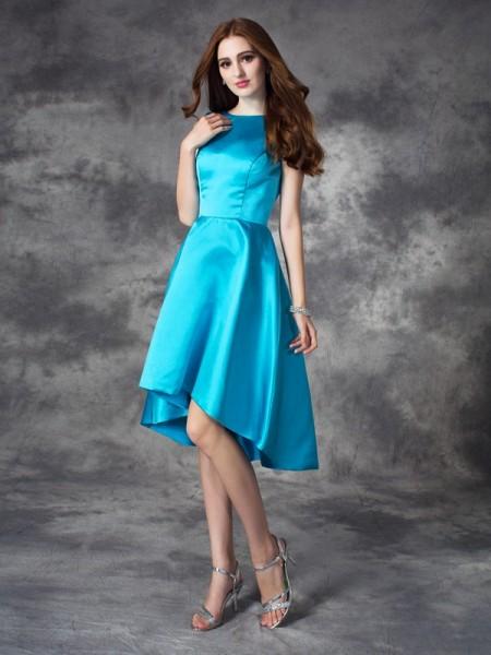 A-line/Princess Bateau Ruffles Sleeveless High Low Satin Bridesmaid Dresses