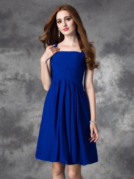 A-line/Princess Square Ruffles Sleeveless Short Chiffon Dresses
