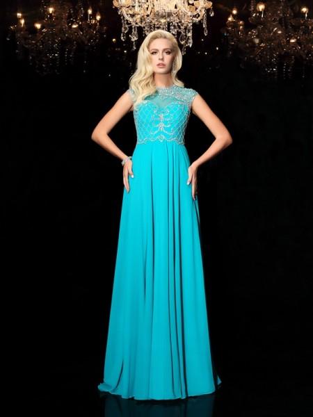 A-Line/Princess Jewel Lace Short Sleeves Long Chiffon Dresses