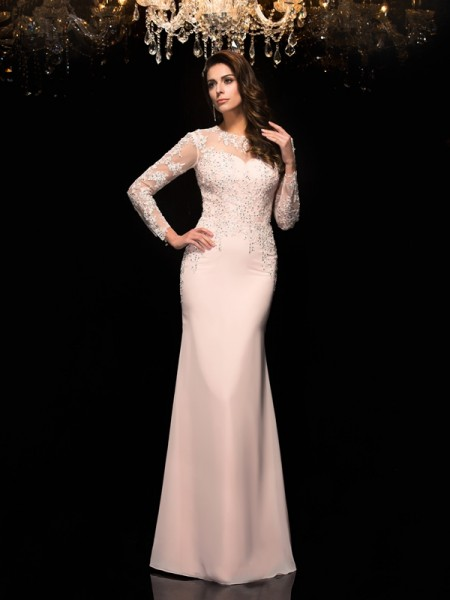 Sheath/Column Sheer Neck Applique 3/4 Sleeves Long Chiffon Dresses