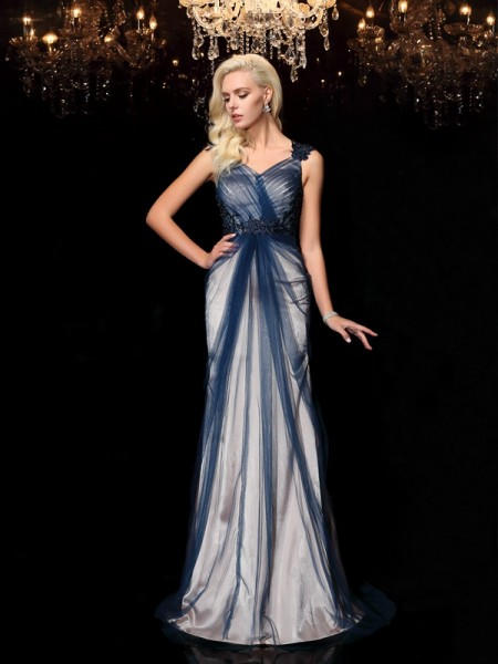 Sheath/Column Straps Applique Sleeveless Long Elastic Woven Satin Dresses