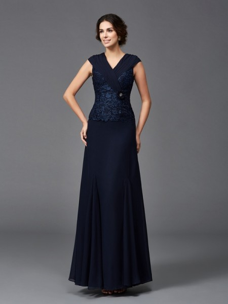 A-Line/Princess Straps Lace Sleeveless Long Chiffon Mother of the Bride Dresses