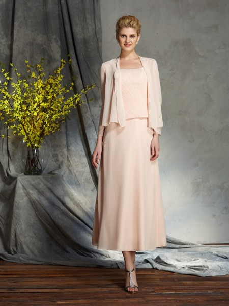 A-Line/Princess Straps Applique Sleeveless Short Chiffon Mother of the Bride Dresses