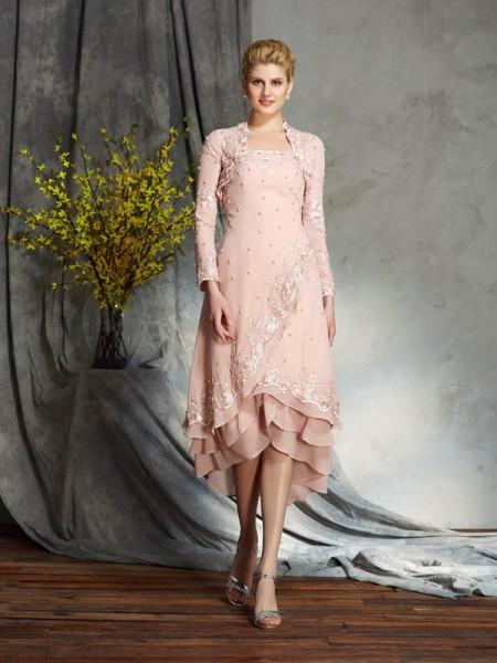 A-Line/Princess Strapless Applique Sleeveless Short Chiffon Mother of the Bride Dresses