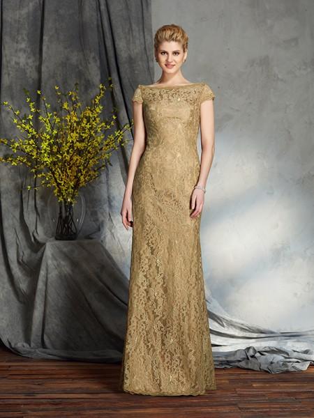 Sheath/Column Bateau Lace Short Sleeves Long Lace Mother of the Bride Dresses