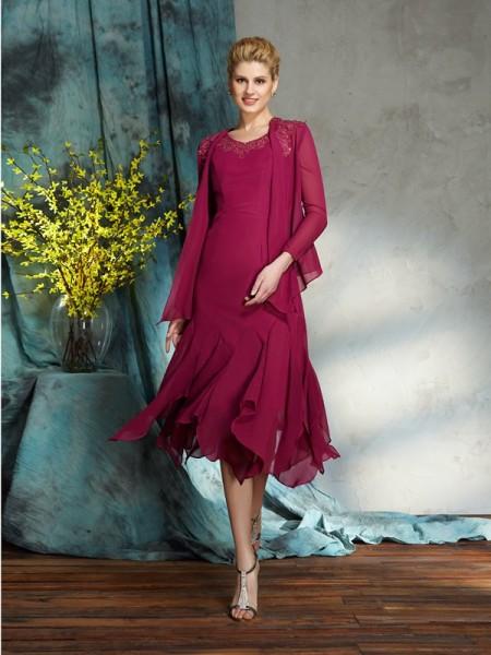 A-Line/Princess Scoop Applique Sleeveless Short Chiffon Mother of the Bride Dresses