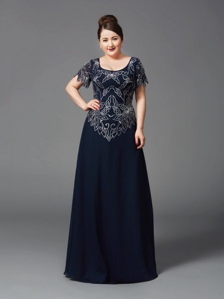 A-Line/Princess Square Short Sleeves Long Chiffon Mother of the Bride Dresses