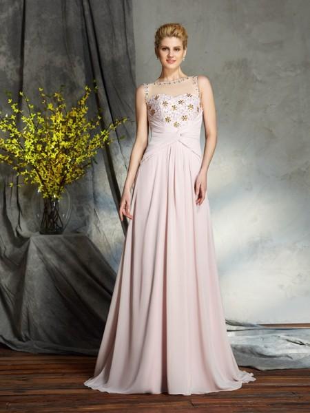 A-Line/Princess Bateau Applique Sleeveless Long Chiffon Mother of the Bride Dresses