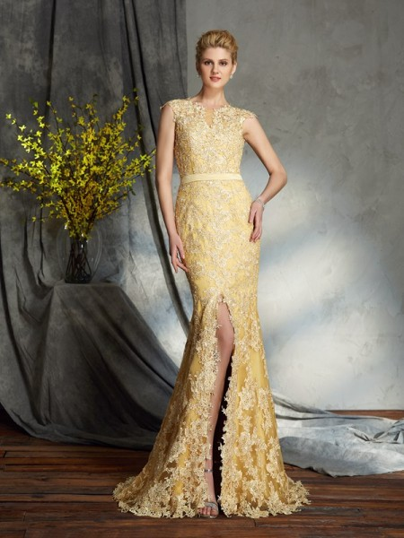 Trumpet/Mermaid Scoop Lace Sleeveless Long Lace Mother of the Bride Dresses