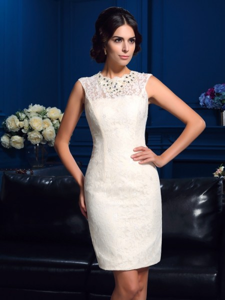 Sheath/Column Jewel Lace Sleeveless Short Lace Mother of the Bride Dresses