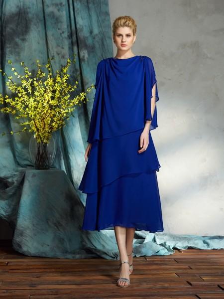 A-Line/Princess Bateau Applique Sleeveless Short Chiffon Mother of the Bride Dresses