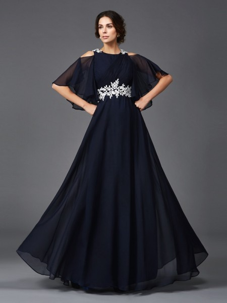 A-Line/Princess Straps Applique 1/2 Sleeves Long Chiffon Mother of the Bride Dresses