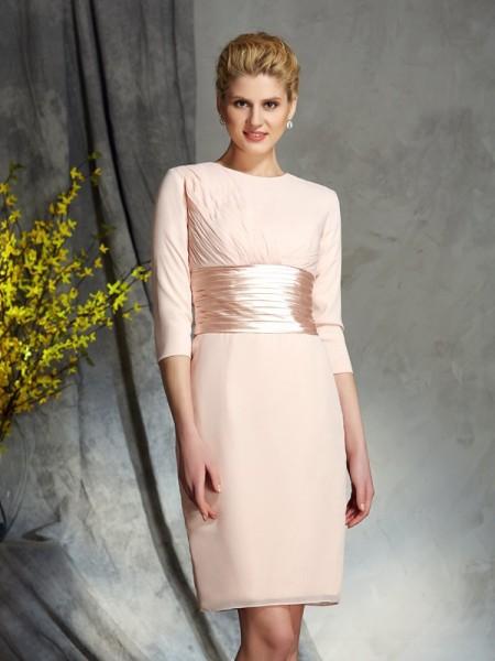 Sheath/Column Scoop 3/4 Sleeves Short Chiffon Mother of the Bride Dresses