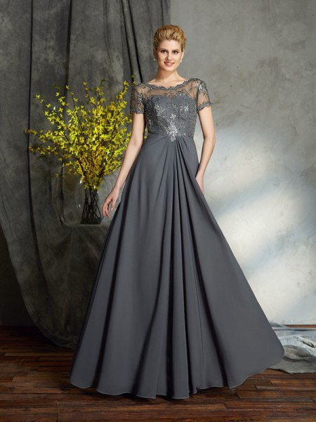 A-Line/Princess Scoop Applique Short Sleeves Long Chiffon Mother of the Bride Dresses