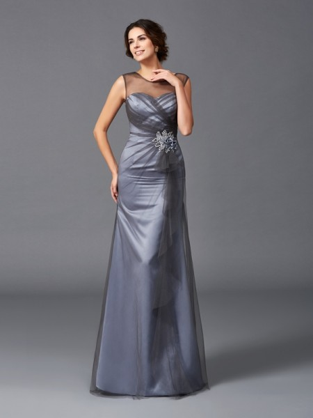 Sheath/Column Scoop Beading Sleeveless Long Net Mother of the Bride Dresses