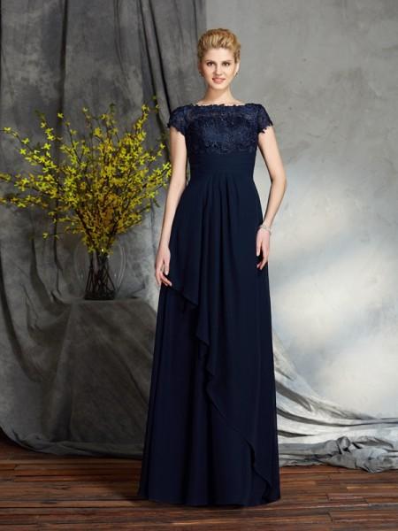 A-Line/Princess Bateau Applique Short Sleeves Long Chiffon Mother of the Bride Dresses