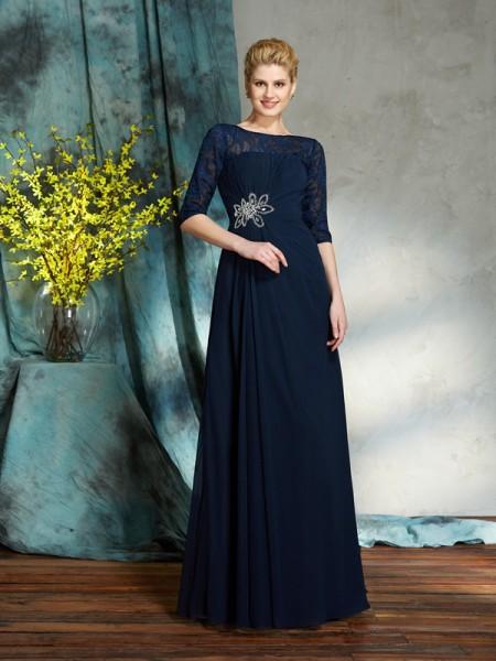 A-Line/Princess Bateau Beading 1/2 Sleeves Long Chiffon Mother of the Bride Dresses