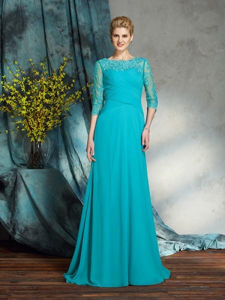 A-Line/Princess Bateau Applique 3/4 Sleeves Long Chiffon Mother of the Bride Dresses