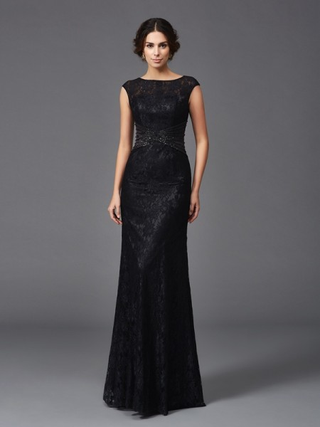 Sheath/Column Scoop Beading Sleeveless Long Lace Mother of the Bride Dresses