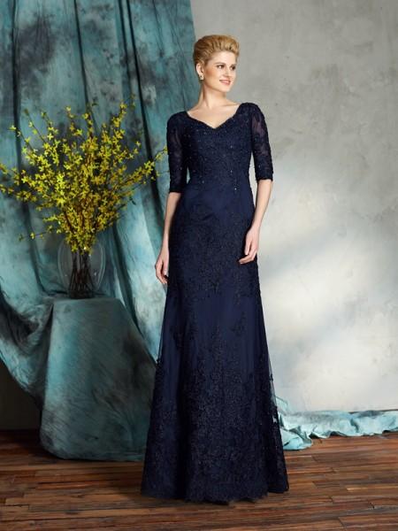 Sheath/Column V-neck Applique 1/2 Sleeves Long Satin Mother of the Bride Dresses