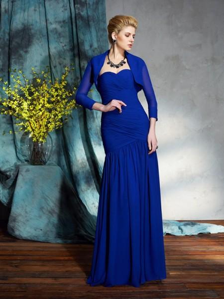 Sheath/Column Sweetheart Pleats Sleeveless Long Chiffon Mother of the Bride Dresses