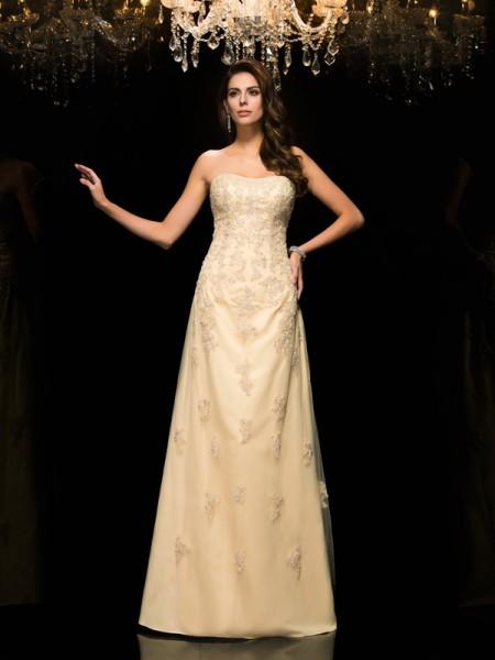 A-Line/Princess Sweetheart Sleeveless Long Net Mother of the Bride Dresses