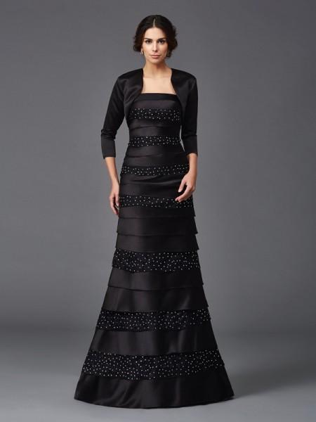 Sheath/Column Strapless Beading Sleeveless Long Satin Mother of the Bride Dresses