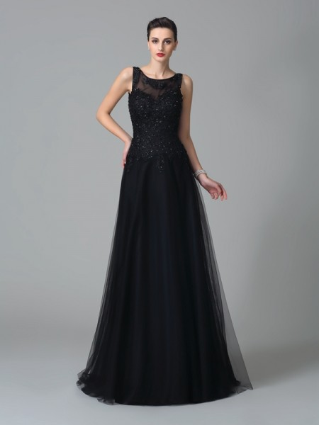 A-Line/Princess Straps Beading Sleeveless Long Net Mother of the Bride Dresses
