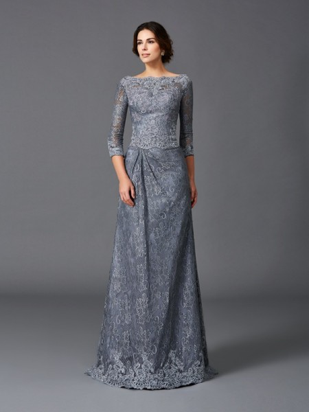 A-Line/Princess Bateau Lace 3/4 Sleeves Long Net Mother of the Bride Dresses