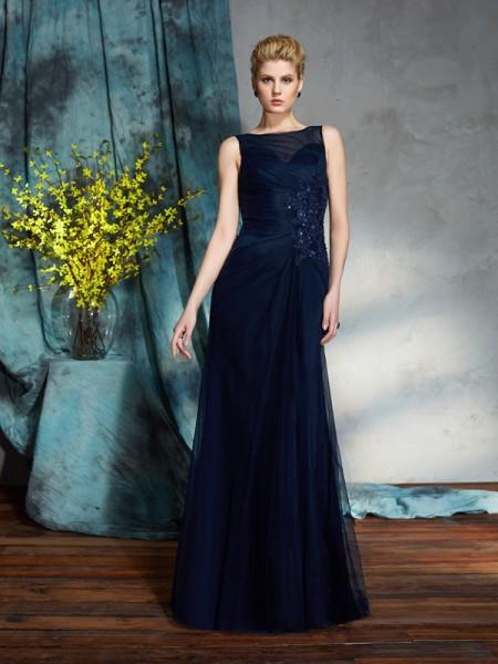 Sheath/Column Bateau Applique Sleeveless Long Net Mother of the Bride Dresses