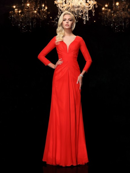 Sheath/Column Bateau Ruched Long Sleeves Long Chiffon Dresses