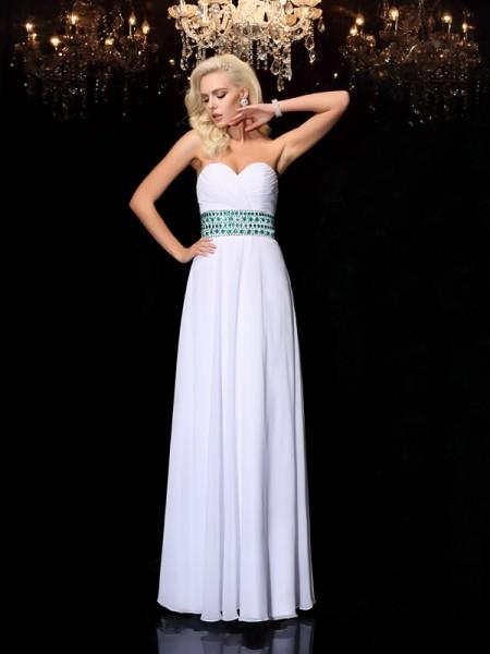 A-line/Princess Sweetheart Rhinestone Sleeveless Long Chiffon Dresses