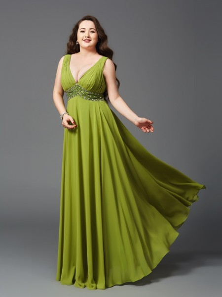 A-Line/Princess Straps Rhinestone Sleeveless Long Chiffon Plus Size Dresses