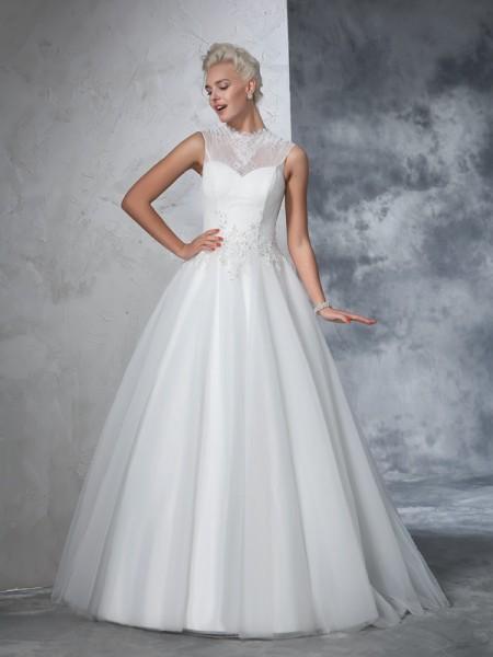 Ball Gown High Neck Applique Sleeveless Long Net Wedding Dresses