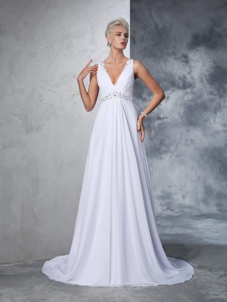 A-Line/Princess V-neck Beading Sleeveless Long Chiffon Wedding Dresses